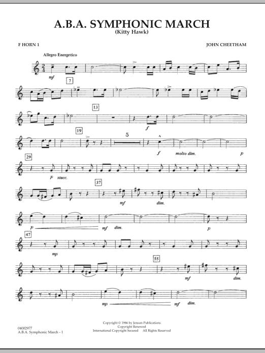 A.B.A. Symphonic March (Kitty Hawk) - F Horn 1 (Concert Band)
