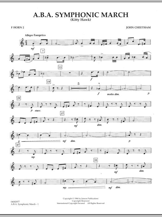 A.B.A. Symphonic March (Kitty Hawk) - F Horn 2 (Concert Band)