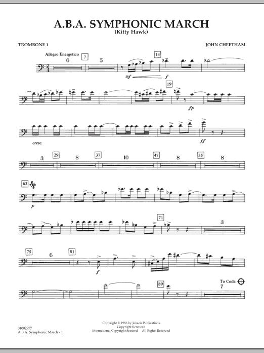 A.B.A. Symphonic March (Kitty Hawk) - Trombone 1 (Concert Band)