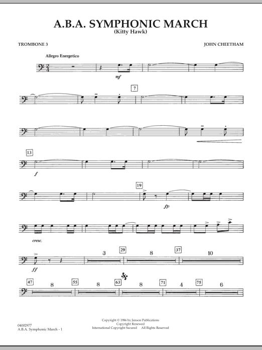 A.B.A. Symphonic March (Kitty Hawk) - Trombone 3 (Concert Band)