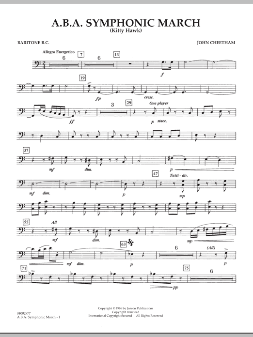 A.B.A. Symphonic March (Kitty Hawk) - Baritone B.C. (Concert Band)