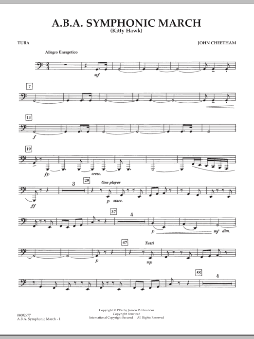A.B.A. Symphonic March (Kitty Hawk) - Tuba (Concert Band)