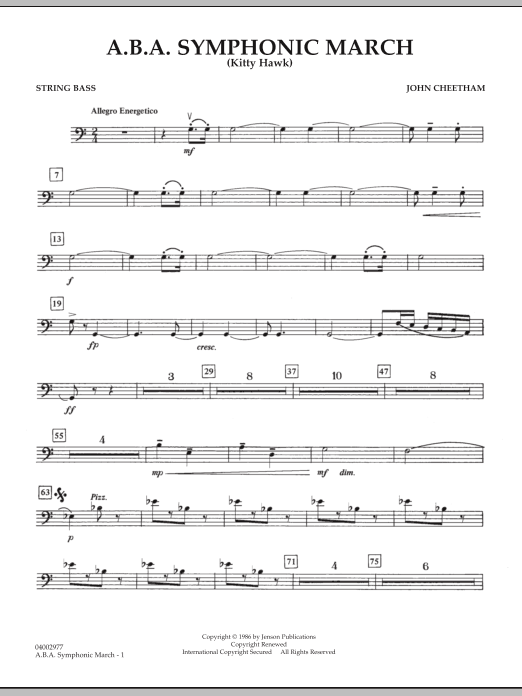 A.B.A. Symphonic March (Kitty Hawk) - String Bass (Concert Band)