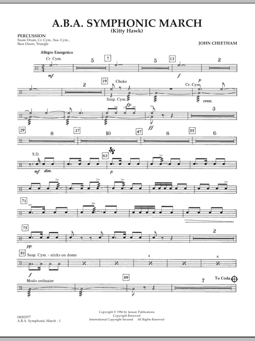 A.B.A. Symphonic March (Kitty Hawk) - Percussion (Concert Band)