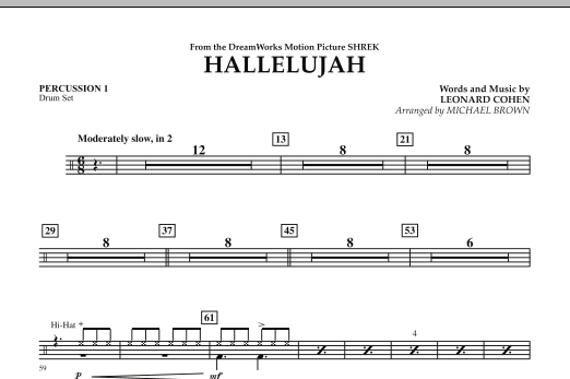 Hallelujah - Percussion 1 (Concert Band)