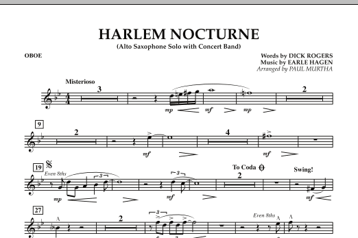 Harlem Nocturne (Alto Sax Solo with Band) - Oboe (Concert Band)