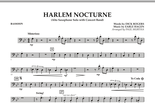 Harlem Nocturne (Alto Sax Solo with Band) - Bassoon (Concert Band)