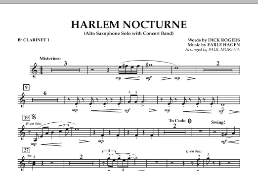 Harlem Nocturne (Alto Sax Solo with Band) - Bb Clarinet 1 (Concert Band)