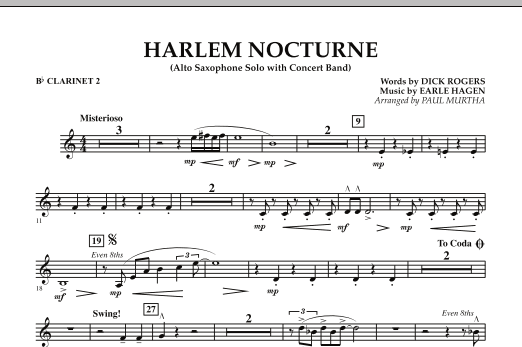 Harlem Nocturne (Alto Sax Solo with Band) - Bb Clarinet 2 (Concert Band)