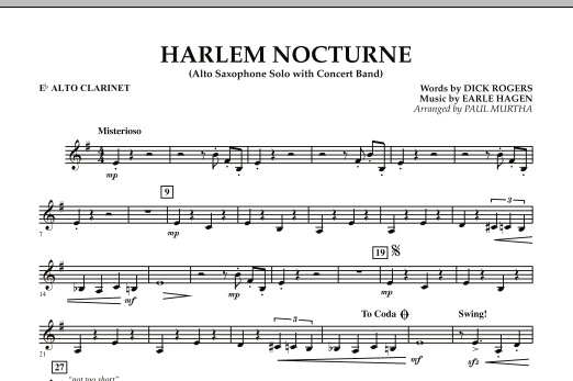 Harlem Nocturne (Alto Sax Solo with Band) - Eb Alto Clarinet (Concert Band)