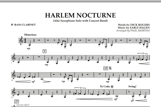 Harlem Nocturne (Alto Sax Solo with Band) - Bb Bass Clarinet (Concert Band)