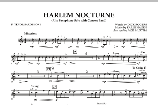 Harlem Nocturne (Alto Sax Solo with Band) - Bb Tenor Saxophone (Concert Band)