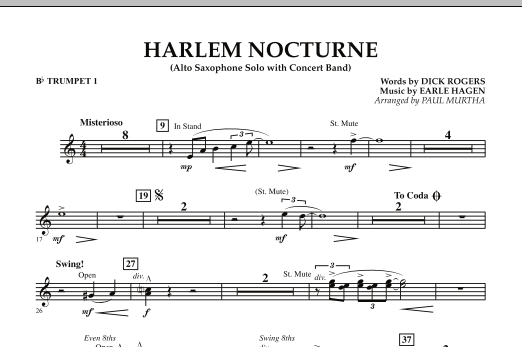 Harlem Nocturne (Alto Sax Solo with Band) - Bb Trumpet 1 (Concert Band)