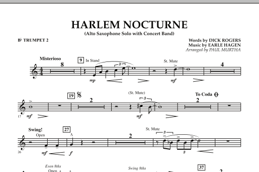 Harlem Nocturne (Alto Sax Solo with Band) - Bb Trumpet 2 (Concert Band)