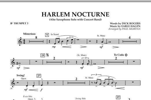 Harlem Nocturne (Alto Sax Solo with Band) - Bb Trumpet 3 (Concert Band)