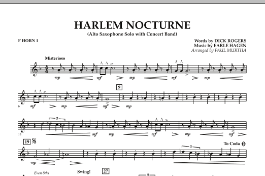 Harlem Nocturne (Alto Sax Solo with Band) - F Horn 1 (Concert Band)