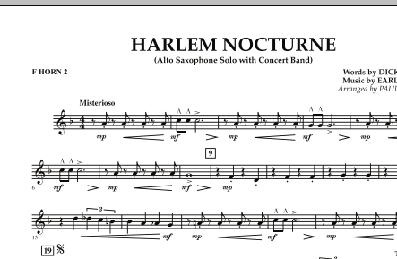 Harlem Nocturne (Alto Sax Solo with Band) - F Horn 2 (Concert Band)
