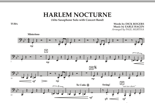 Harlem Nocturne (Alto Sax Solo with Band) - Tuba (Concert Band)