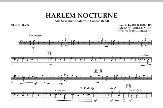 Harlem Nocturne (Alto Sax Solo with Band) - String Bass (Concert Band)