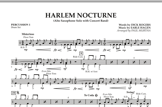 Harlem Nocturne (Alto Sax Solo with Band) - Percussion 1 (Concert Band)