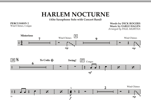 Harlem Nocturne (Alto Sax Solo with Band) - Percussion 2 (Concert Band)