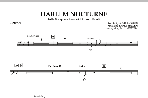 Harlem Nocturne (Alto Sax Solo with Band) - Timpani (Concert Band)