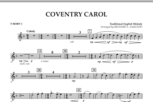 Coventry Carol - F Horn 1 (Concert Band)