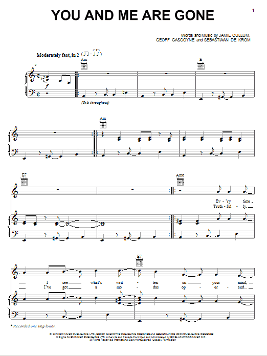 Partition piano You And Me Are Gone de Jamie Cullum - Piano Voix Guitare (Mélodie Main Droite)