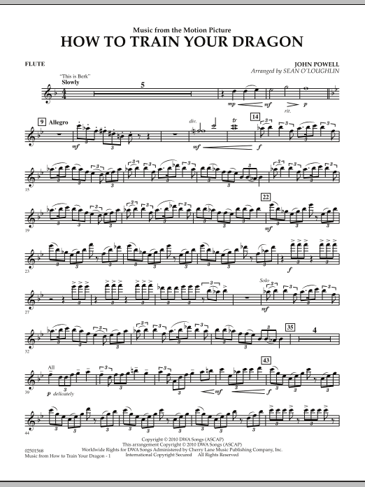 Music from How To Train Your Dragon - Flute (Concert Band)