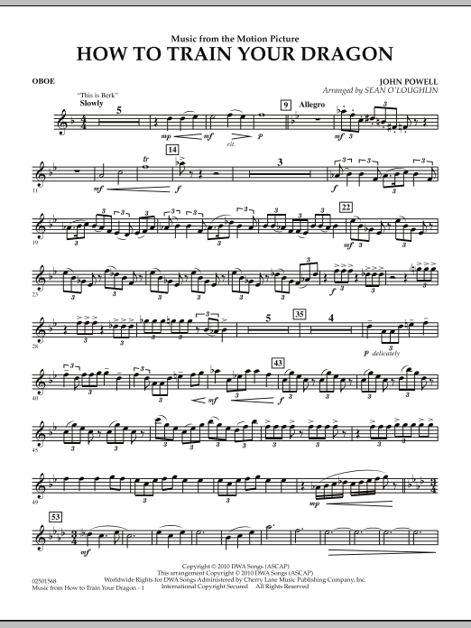 Music from How To Train Your Dragon - Oboe (Concert Band)