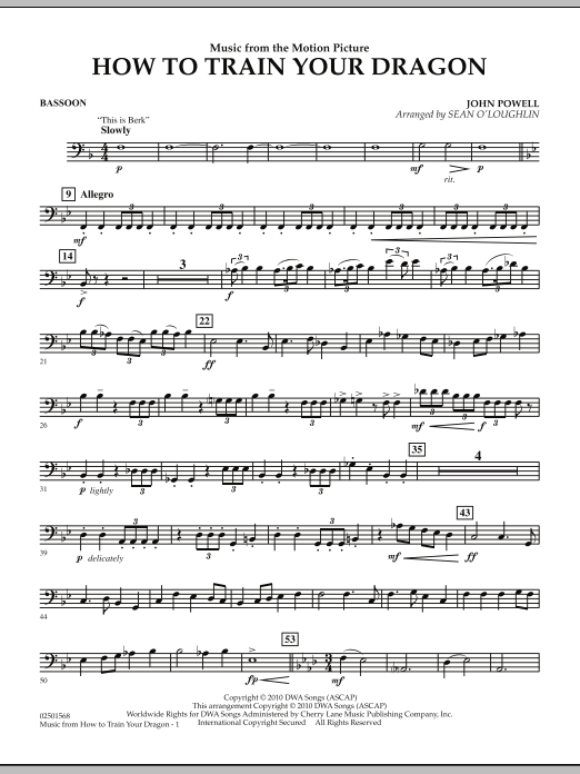 Music from How To Train Your Dragon - Bassoon (Concert Band)