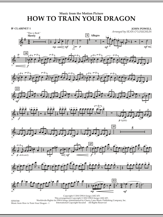 Music from How To Train Your Dragon - Bb Clarinet 1 (Concert Band)