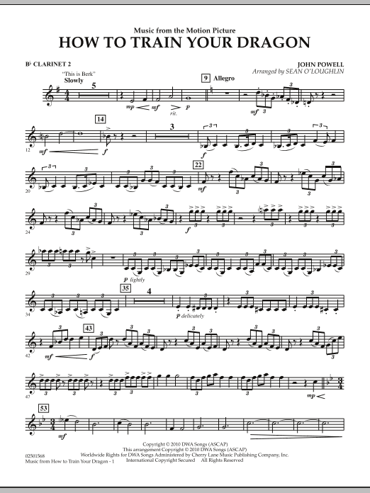 Music from How To Train Your Dragon - Bb Clarinet 2 (Concert Band)
