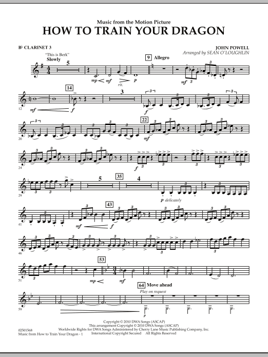 Music from How To Train Your Dragon - Bb Clarinet 3 (Concert Band)