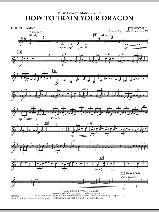 Music from How To Train Your Dragon - Eb Alto Clarinet (Concert Band)