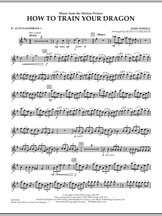 Music from How To Train Your Dragon - Eb Alto Saxophone 1 (Concert Band)
