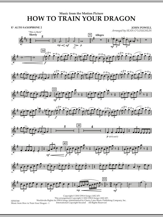 Music from How To Train Your Dragon - Eb Alto Saxophone 2 (Concert Band)