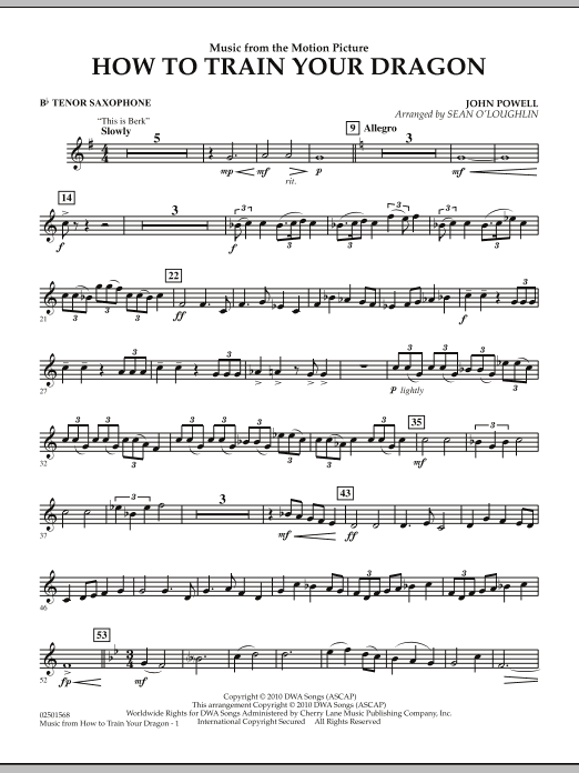 Music from How To Train Your Dragon - Bb Tenor Saxophone (Concert Band)