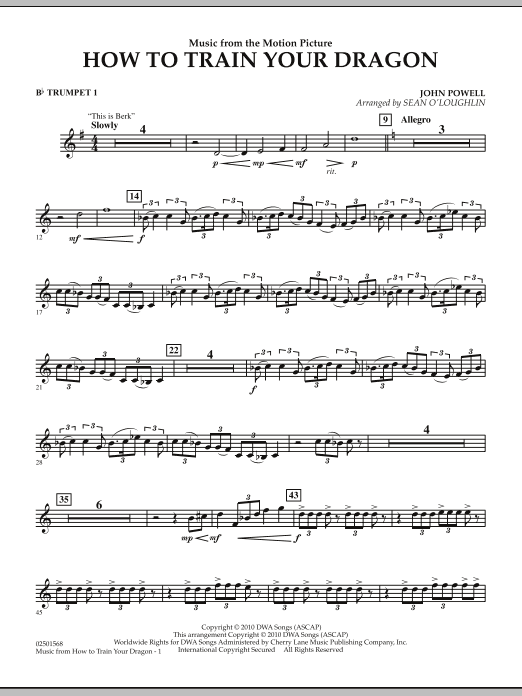 Music from How To Train Your Dragon - Bb Trumpet 1 (Concert Band)