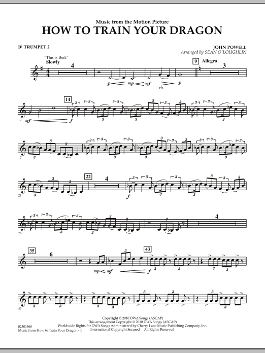 Music from How To Train Your Dragon - Bb Trumpet 2 (Concert Band)