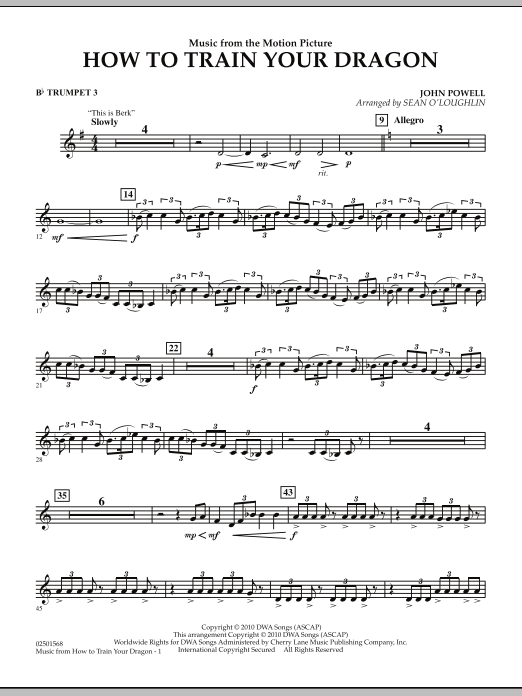 Music from How To Train Your Dragon - Bb Trumpet 3 (Concert Band)