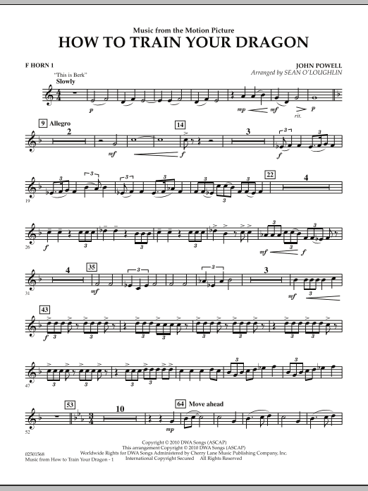 Music from How To Train Your Dragon - F Horn 1 (Concert Band)