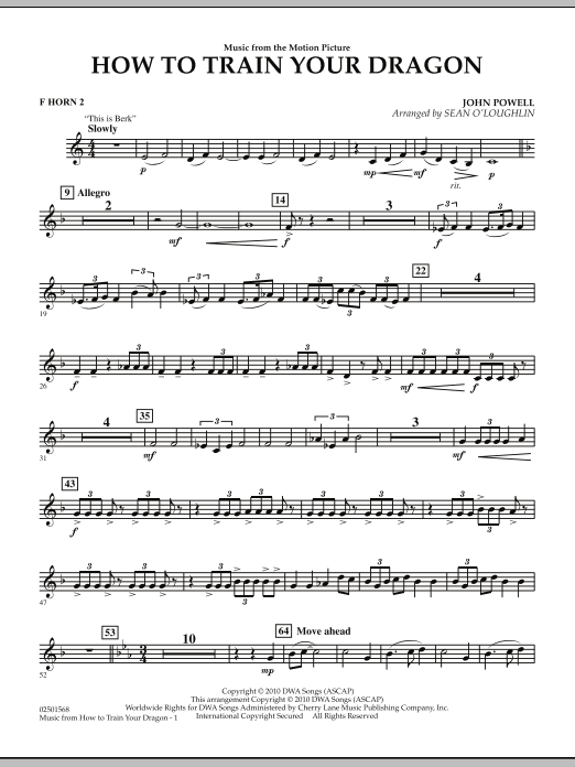 Music from How To Train Your Dragon - F Horn 2 (Concert Band)