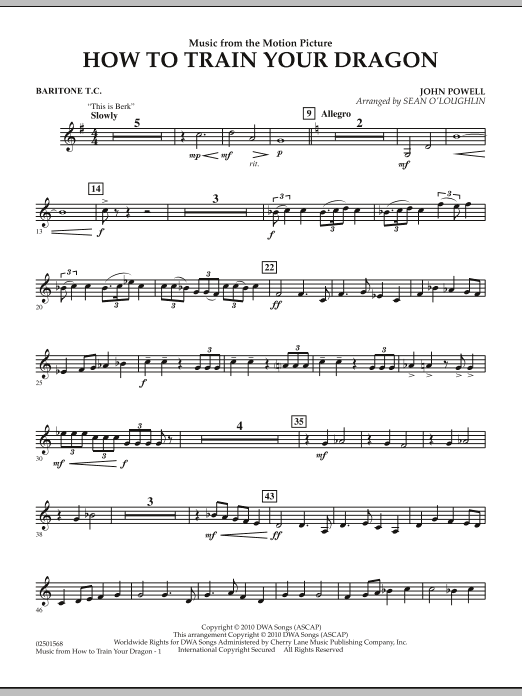 Music from How To Train Your Dragon - Baritone T.C. (Concert Band)