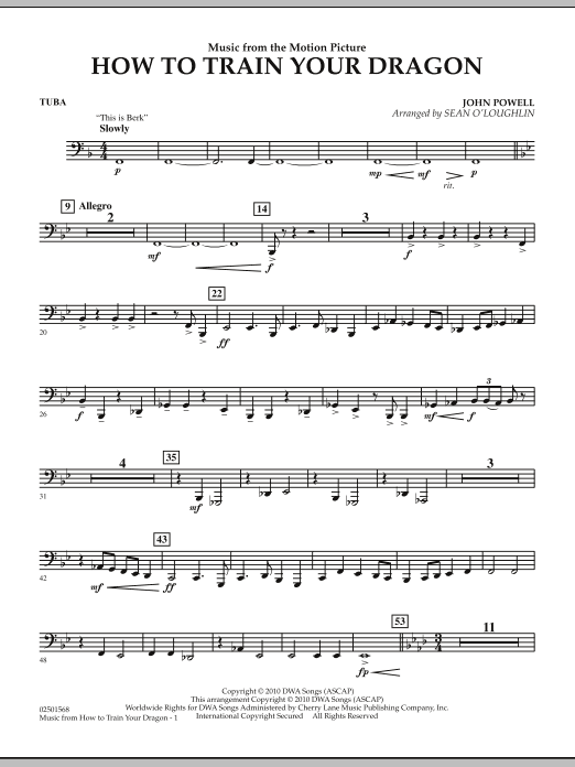 Music from How To Train Your Dragon - Tuba (Concert Band)