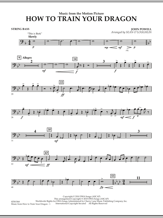 Music from How To Train Your Dragon - String Bass (Concert Band)