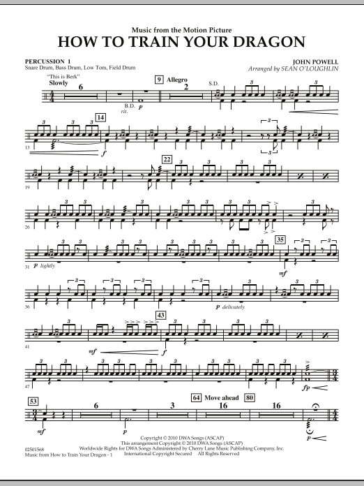 Music from How To Train Your Dragon - Percussion 1 (Concert Band)