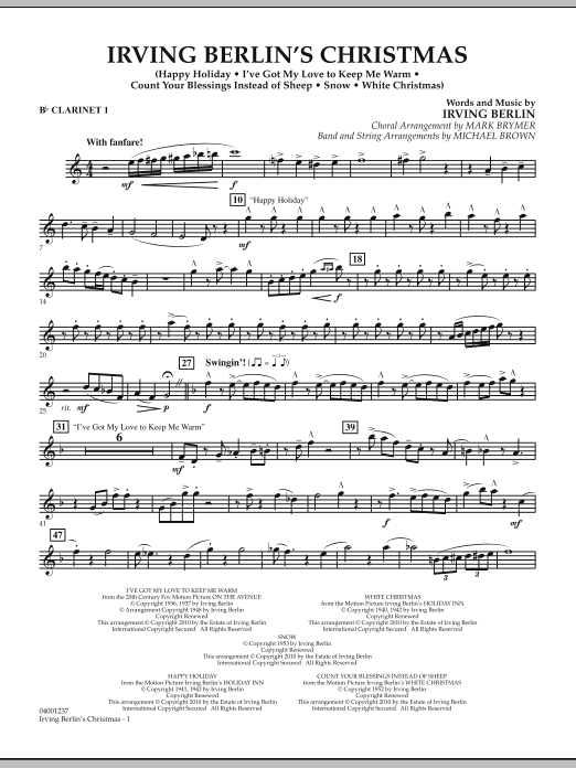 page one of Irving Berlin's Christmas (Medley) - Bb Clarinet 1ASALTTEXT