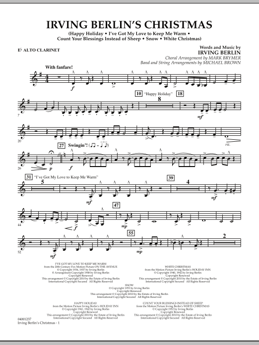 page one of Irving Berlin's Christmas (Medley) - Eb Alto ClarinetASALTTEXT