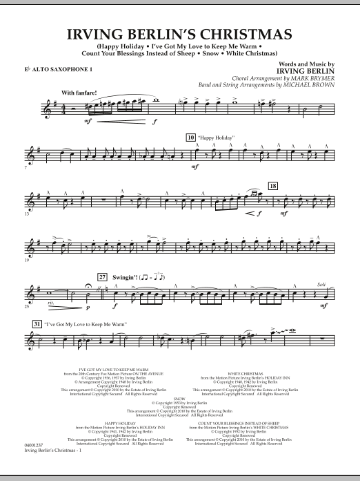 page one of Irving Berlin's Christmas (Medley) - Eb Alto Saxophone 1ASALTTEXT